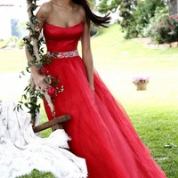 Strapless Belted Gown by Sherri Hill