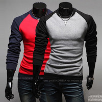 Color Contrast Men Slim Fit Fashion Tee