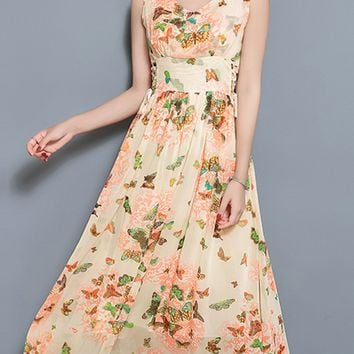 Casual V-Neck Lace-Up Butterfly Printed Chiffon Maxi Dress