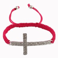 2 Pieces of Fuchsia Lace Style Iced Out Cross Bracelet with Beaded Disco Balls Macrame Shamballah