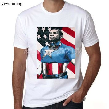 yiwuliming t shirt men brand Thank You President Barack Obama 44th President USA Flag Tee Crew Neck Zomer T Shirts For Men