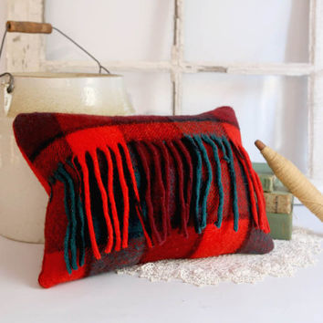 Vintage Wool Pillow, Red Plaid Throw Pillow, Rustic Cabin Decor, Red Wool Plaid Pillow 12x16