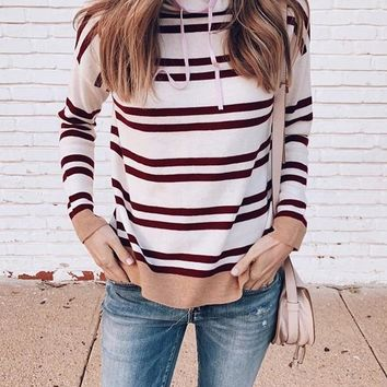 New White Striped Print Drawstring Cowl Neck Long Sleeve Pullover Sweater