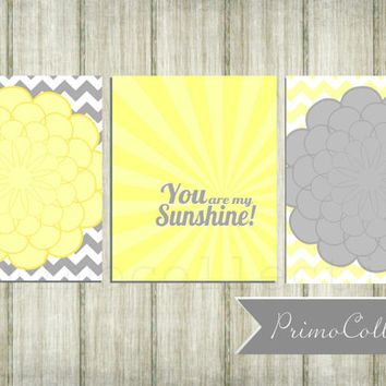 Nursery Wall Art Prints / set of 3 / you are my sunshine / flowers / 8x10 inch / yellow and gray / blooms / baby girl / girl's room decor