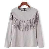 Gray Tassel Sweatshirt