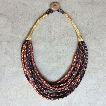 Statement multistrand necklace/ handmade fabric necklace/ upcycled vintage neckties/  textile jewelry /ethnic jewelry /ecofriendly