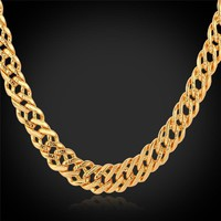 Necklaces Rose Gold/18K Real Gold Plated '18K' Stamp 6MM Classic