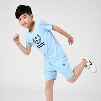 Boy Summer Set 2017 New Children's Wear Child  Short-sleeved T-shirt Suit 7-16 Years Old