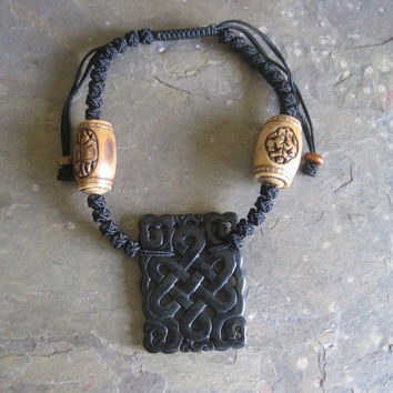 Cow Bone with Carved Black Jade RuYi Pendant Necklace