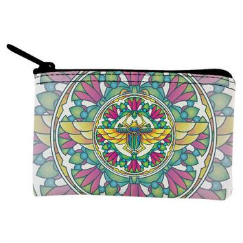 DCCKJY1 Mandala Trippy Stained Glass Scarab Coin Purse