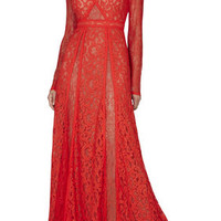 BCBG Kalie Long-Sleeve Lace-Blocked Gown