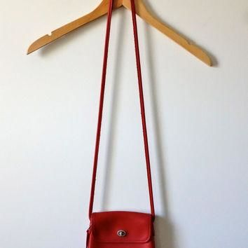Vintage 1990s Red Leather Coach Tango Bag