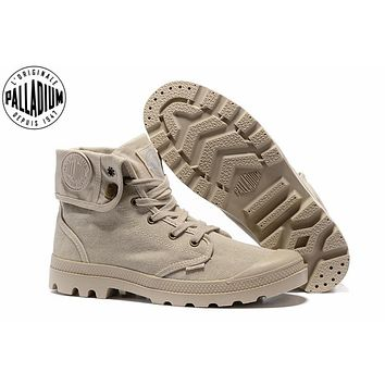 PALLADIUM Pallabrouse Khaki Turn help Men Military Ankle Boots Sneakers Canvas Casual Shoes Men Casual Shoes Eur Size 39-45
