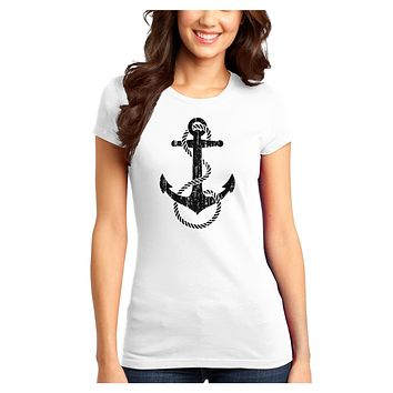 Distressed Nautical Sailor Rope Anchor Juniors T-Shirt