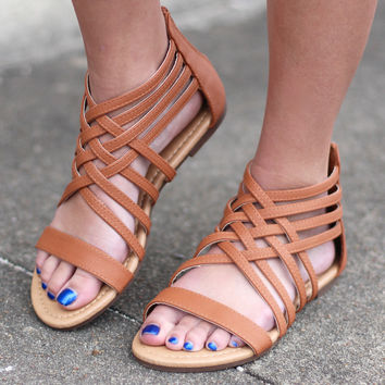 Maggie Criss Cross Strappy Sandal {Tan}