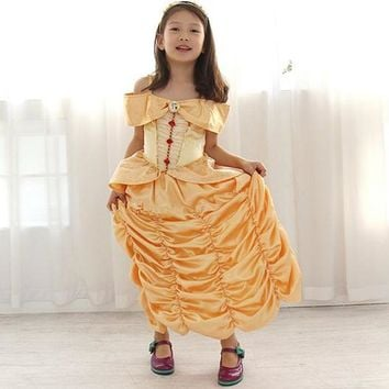 European American Style Toddler Clothes Halloween/ Christmas Festival Yellow Princess Girls Show Perfermance Stage Costume Dress