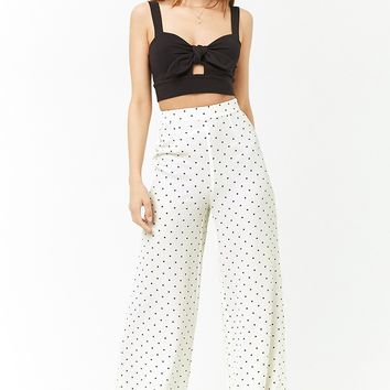 Dot Print Wide-Leg Pants