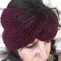 Boho Crochet Twist Ear Warmer Headband in Burgundy, Handmade Crocheted Ear Warmer, Thick Ear Warmer Head Wrap, Double Twist Crochet Turban