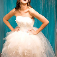 Glamorous Wedding Dress with Feather Bodice by crybabycosmetics