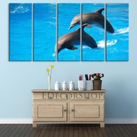 Large Wall Art Jumping Dolphins Canvas Print 5 Panel Ready to Hang