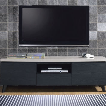 Acme 91405 Magna black finish wood tv stand faux concrete top