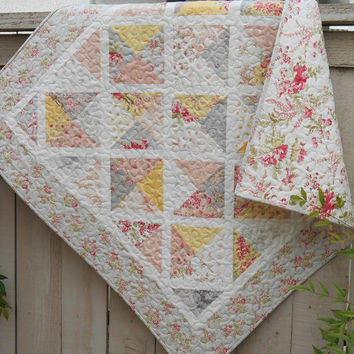 Baby Girl Quilt, Moda's Whitewashed Cottage, Shabby Cottage Chic Quilt, Quilted Table Topper, Quilted Wallhanging