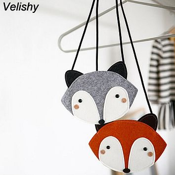 Velishy 1PC Fox design girls messenger bag baby accessories girls Mini Lovely Children one shoulder bag coin purse cute