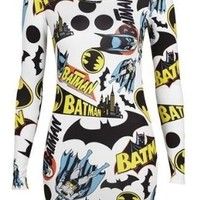Crazy Girls Ladies Batman Print Comic Book Bodycon Mini Dress