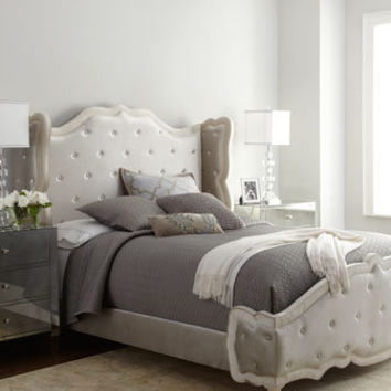 bedroom wall murals haute house champagne tufted bed from horchow home 10742