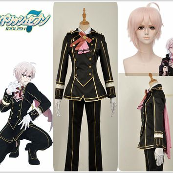 Games IDOLiSH7 Trigger Group DIAMOND FUSION Kujo Tenn Cosplay Costume Custom Jacket Pants Uniform Suit Pink Short Wig Tie-bow