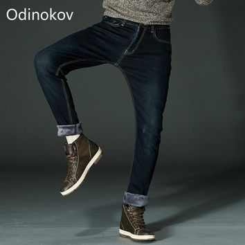 Odinokov Brand  Mens Winter Fleece Jeans Flannel Lined Stretch Denim Jeans Slim Fit Trousers Pants Plus size 40 42 Men's Jeans
