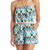 Geometric Print Belted Strapless Romper