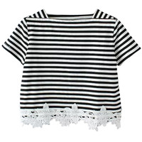 Classic Lace Black and White Striped Crop Top