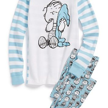 Boy's Hanna Andersson 'Peanuts - Linus' Organic Cotton Two-Piece Fitted Pajamas,