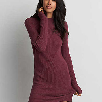 AEO Mock Neck Sweater Dress, Maroon