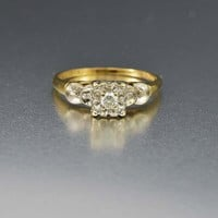 Superb 14K Gold Diamond Art Deco Engagement Ring