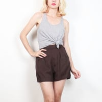 Vintage 1980s Shorts Chocolate Brown High Waisted Shorts Cuffed Edge Hem High Waist Shorts Preppy 80s Shorts Mom Shorts XS Extra Small XXS