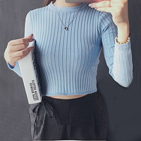 Spring Autumn Tops Women O-neck Long Sleeve Sexy High Waist Sweater knitted Cropped knitwear Women Sweaters Pullovers