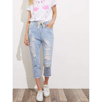 Bleach Wash Crop Distressed Jeans