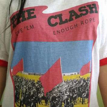 Vintage 80's The Clash Give 'Em Enough Rope Soft Thin T Shirt