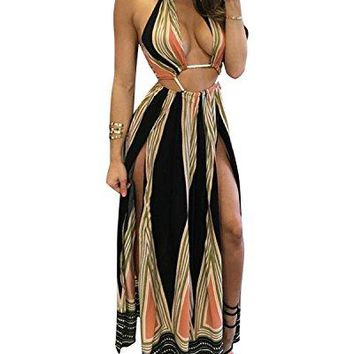 BIUBIU Womens Boho Floral Halter Summer Beach Party Split Cover up Dress SXL