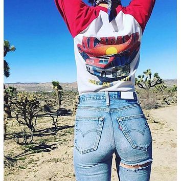 Vintage High waist Back Thigh Ripped Jeans