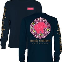 "Simply Southern ""Preppy Daisy"" Long Sleeve T-Shirt with heat press monogram option"