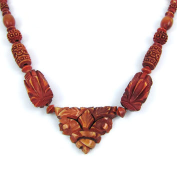 Faux Bois - Vintage Carved Galalith Necklace, 1930s Folk Art Fake Wood Beads on Brass Chain, Tribal, Early Plastic Jewelry, Celluloid