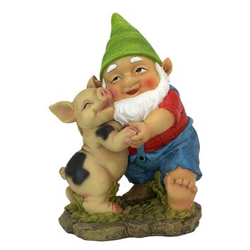 Design Toscano QL30777 Happy As a Pig in Slop Garden Gnome Statue, One Size, Multicolor