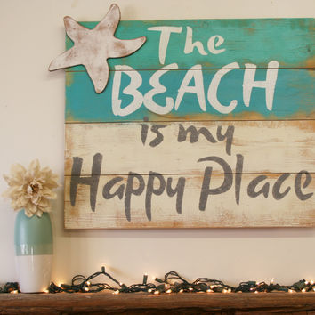 The Beach Is My Happy Place Pallet Sign Beach House Sign Shabby Chic Rustic Distressed Wood Wall Art Handpainted Wood Housewarming Gift