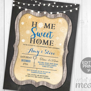 Christmas Housewarming Invitation Party Invites Chalk Festive INSTANT DOWNLOAD Snowflake Home Sweet Home Invites Holidays Printable Editable