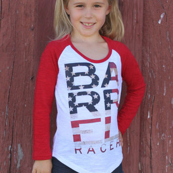 Barrel Racer Americana Baseball Burnout Girls Tee