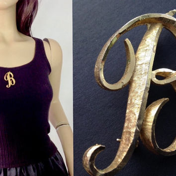 Mamselle Signed Brooch Letter B Pin Initial Brooch Vintage Gold Tone Brooch
