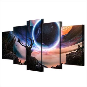 Planet Deer Animal at Night HD Printed Wall Art Home Decor Canvas Panel Picture